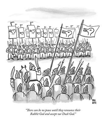 Crusades Drawing - An Army Lines Up For Battle by Paul Noth
