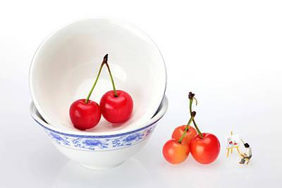 Painting - An Artist Painting Cherries Miniature Art by Paul Ge