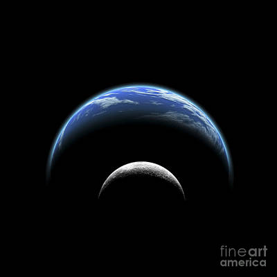 Solar Eclipse Digital Art - An Artists Depiction Of A Large Planet by Marc Ward