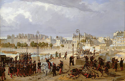 1848 Photograph - An Attack On A Barricade On The Pont De Larcheveche, 1849 Oil On Canvas by Philippe Marie Chaperon