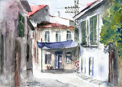 Art Print featuring the painting An Authentic Street In Urla - Izmir by Faruk Koksal