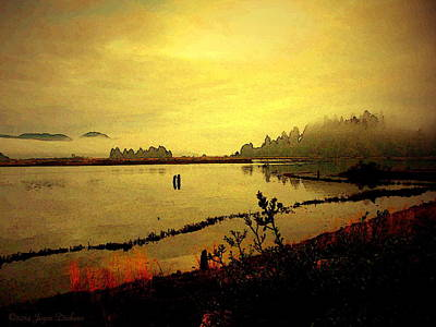 Friendly Digital Art - An Awe Inspiring Morning On The Pacific Coast W C by Joyce Dickens