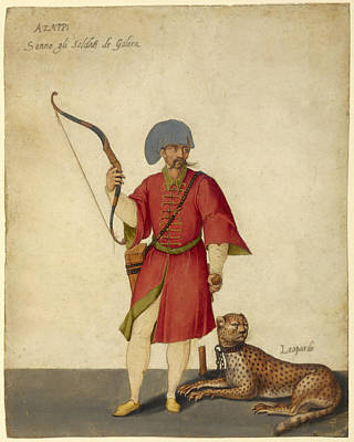 European Folk Art Painting - An Azappo Archer With A Cheetah, 1575 by Getty Research Institute