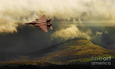 Print featuring the photograph An Eagle Over Cumbria by Meirion Matthias
