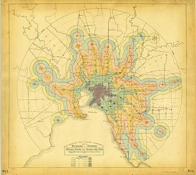 Old Map Painting - An Early Isochrone Map Of Melbourne Rail Transport Travel Times by Celestial Images