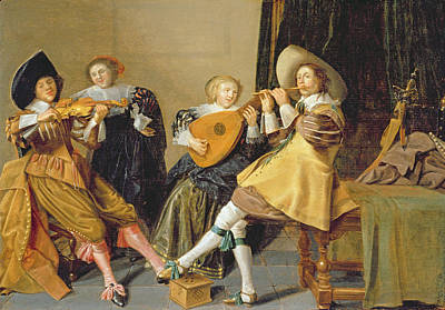 Lute Painting - An Elegant Company Playing Music In An by Dirck Hals