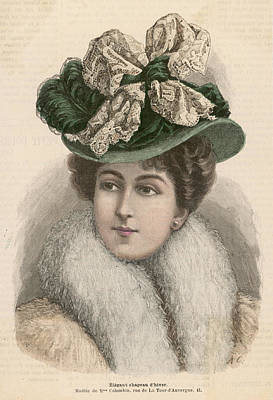 Boa Constrictor Drawing - An Elegant Hat For Winter  Wear by Mary Evans Picture Library