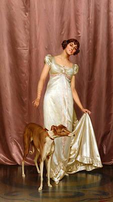 Satin Dress Painting - An Elegant Lady by Vittorio Reggianini