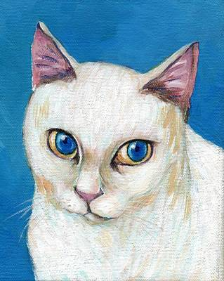 Kitten Painting - An Elegant White Cat With Blue Eyes by Jingfen Hwu