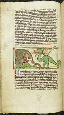 An Elephant And A Dragon Art Print by British Library