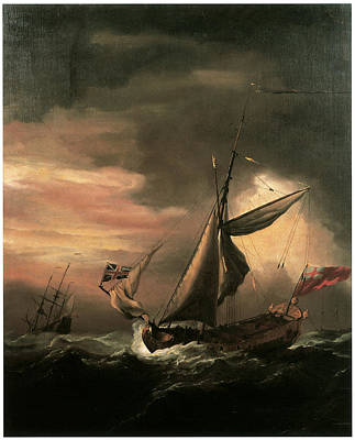 An English Royal Yacht And Others Shipping In Heavy Seas Art Print by Willem van de Velde the Younger
