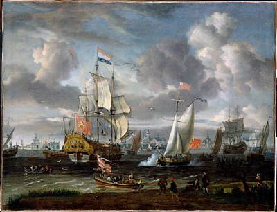 An English Yacht Saluting A Dutch Man Of War Art Print