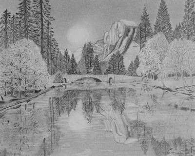 Placid Drawing - An Evening At Yosemite by Laurence Wright