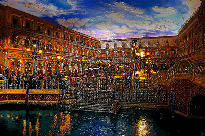 Night Lamp Painting - An Evening In Venice by David Lee Thompson