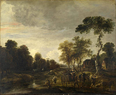 An Evening Landscape With A Horse And Cart By A Stream Art Print