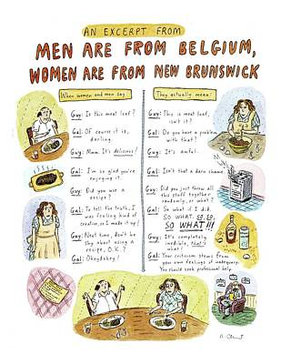 Belgium Drawing - An Excerpt From 'men Are From Belgium by Roz Chast
