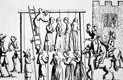 Punishment Drawing - An Execution Of Witches In England by English School