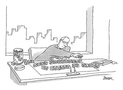 Desk Drawing - An Executive Sitting At His Desk Plays by Jack Ziegler