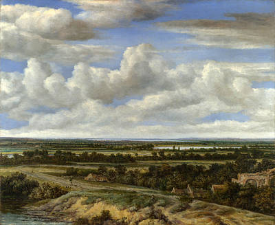 Extensive Landscape Painting - An Extensive Landscape With A Road By A River by Philips Koninck