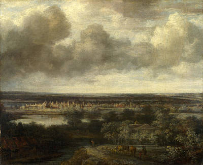 Extensive Landscape Painting - An Extensive Landscape With A Town by Philips Koninck