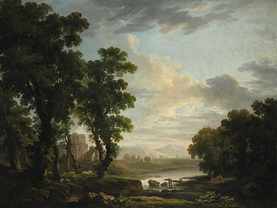 The Shepherds Painting - An Extensive Wooded River Landscape by Celestial Images