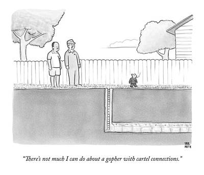 Rodent Wall Art - Drawing - An Exterminator And Home-owner Look by Paul Noth