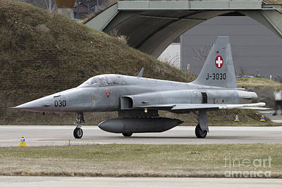 Animals Photos - An F-5 Tiger Aircraft Of The Swiss Air by Luca Nicolotti
