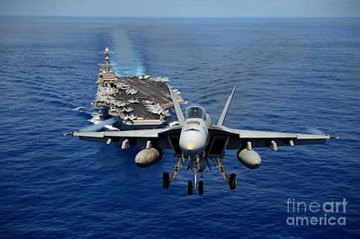 Art Print featuring the photograph An Fa-18 Hornet Demonstrates Air Power. by Paul Fearn