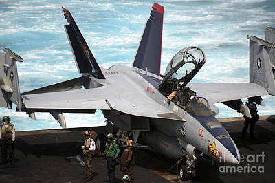 An Fa-18f Super Hornet Sits Print by Stocktrek Images