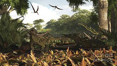 An Group Of Ankylosaurid Dinosaurs Print by Arthur Dorety