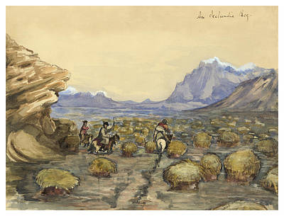 Middle Ages Drawing - An Icelandic Bog Circa 1862 by Aged Pixel