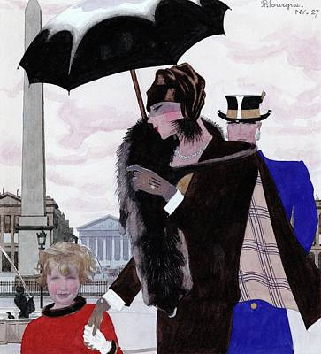 Umbrellas Digital Art - An Illustration For Vogue Magazine by Pierre Mourgue