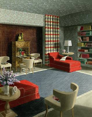 Lounge Digital Art - An Illustration Of A Home Library by Urban Weis