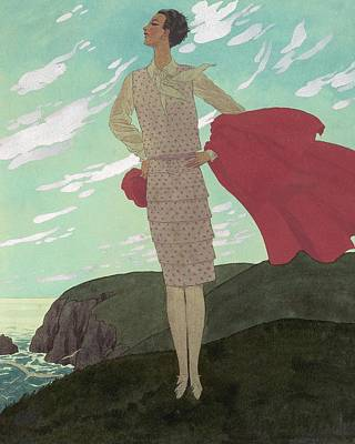 Windblown Digital Art - An Illustration Of A Young Woman For Vogue by Pierre Brissaud