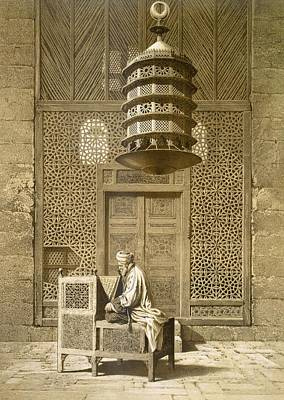 Geometric Drawing - An Imam Reading The Koran In The Mosque by Maurice Keating