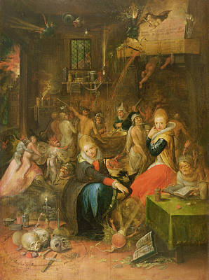 Sorcerer Painting - An Incantation Scene, 1606 by Frans II the Younger Francken