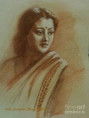 Drawing - An Indian Actress by Asha Sudhaker Shenoy