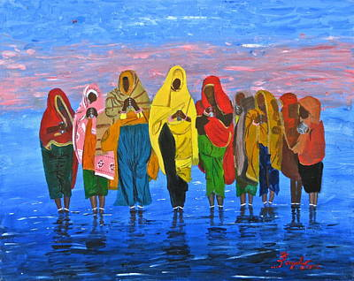 Painting - An Indian Water Prayer Ritual by Artistic Indian Nurse