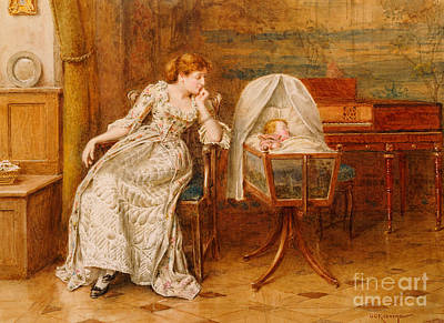 An Interior With A Mother And Child Art Print