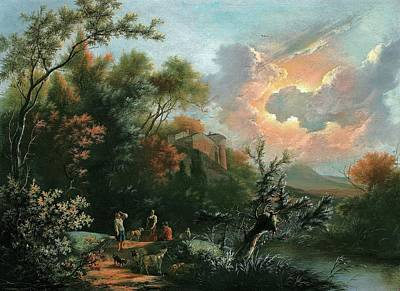 Sheep. Landscape Painting - An Italianate Hilly And Wooded River by Jan III Snellinck