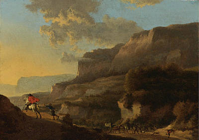 An Italianate Landscape With Travellers Ambushed By Bandits Print by Jan Hackaert