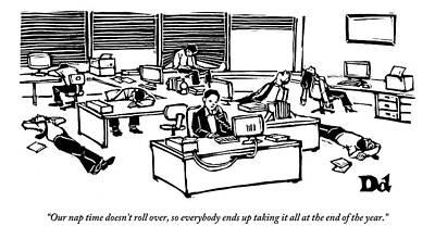 Sleeping Drawing - An Office Worker Speaks On The Phone by Drew Dernavich