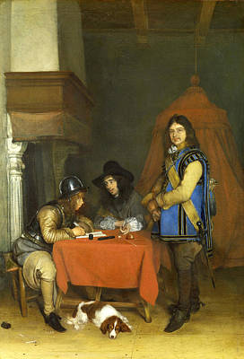 Dictate Painting - An Officer Dictating A Letter by Gerard ter Borch