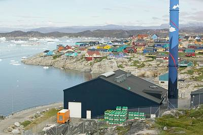 An Oil Fired Power Plant In Ilulissat Art Print by Ashley Cooper