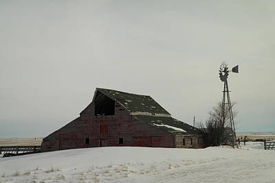 Gelid Photograph - An Old Barn And Windmill  by Jeff Swan