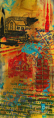 Mixed Media - An Old Country Town by Angela L Walker