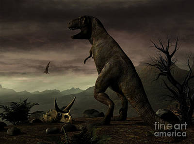 Triassic Digital Art - An Old-fashioned Depiction by Philip Brownlow