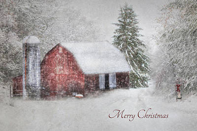 Red Barns Photograph - An Old Fashioned Merry Christmas by Lori Deiter