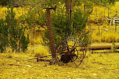 An Old Grass Cutter In Lincoln City New Mexico Print by Jeff Swan