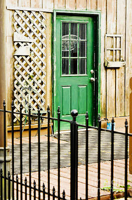Photograph - An Old Green Door Inviting You In by MaryJane Armstrong